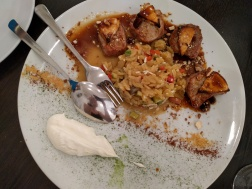 Pork tenderloin with orzo, mizithra cheese and fig