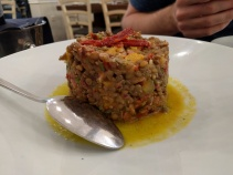 Lentils with oregano, sundried tomato, siglino and orange sauce