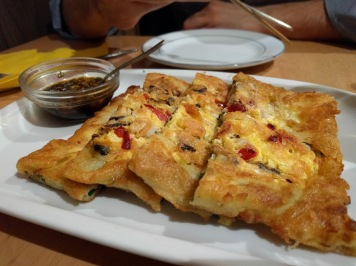 Seafood and spring onion pancake
