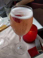 The house cocktail - effectively a kir royale with a raspberry!