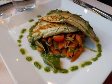 Sea bass with pan fried vegetables